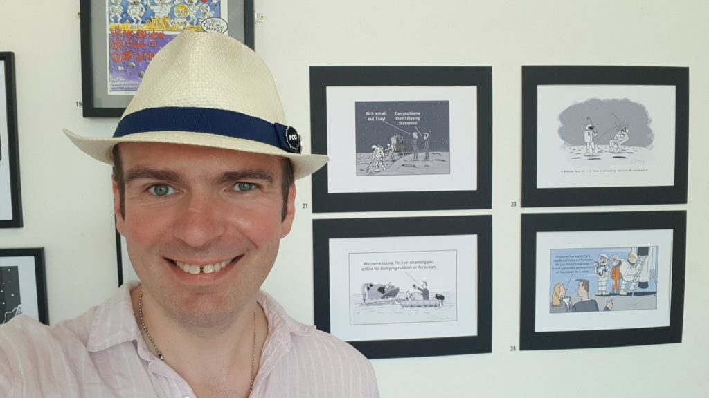 James Mellor cartoons on display