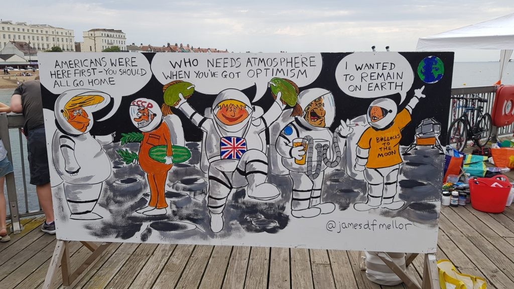 James Mellor's finished big board, Herne Bay Cartoon Festival 2019
