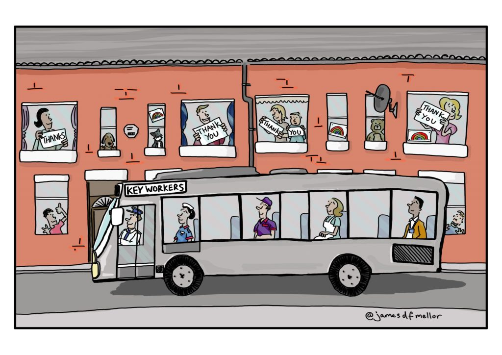 bus cartoon saying thank you to key workers