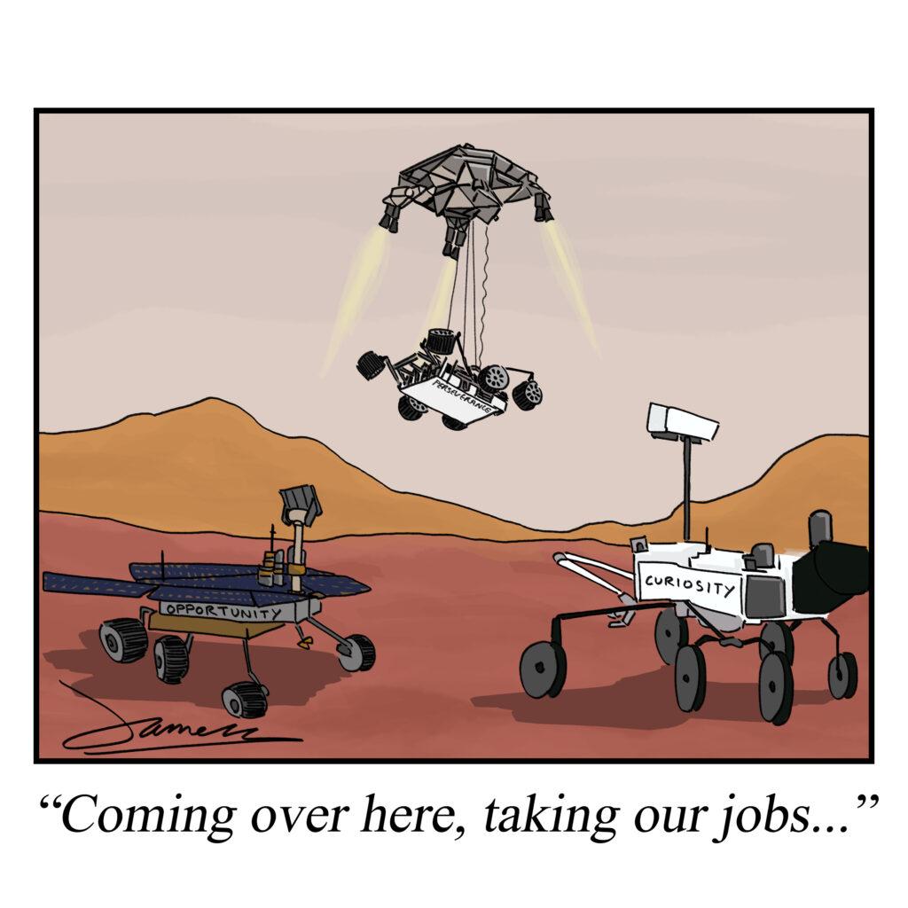 Perseverance Rover on Mars cartoon