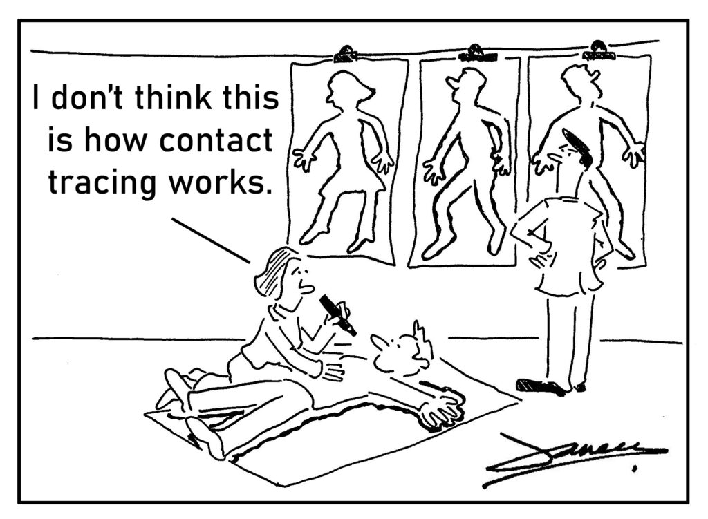 track and trace cartoon