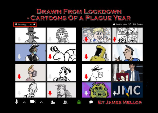 Coronavirus lockdown cartoon zoom call