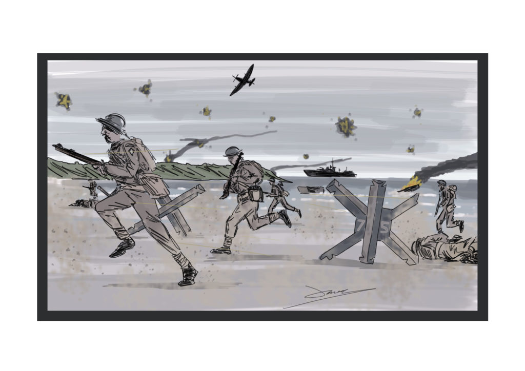 D Day beach illustration