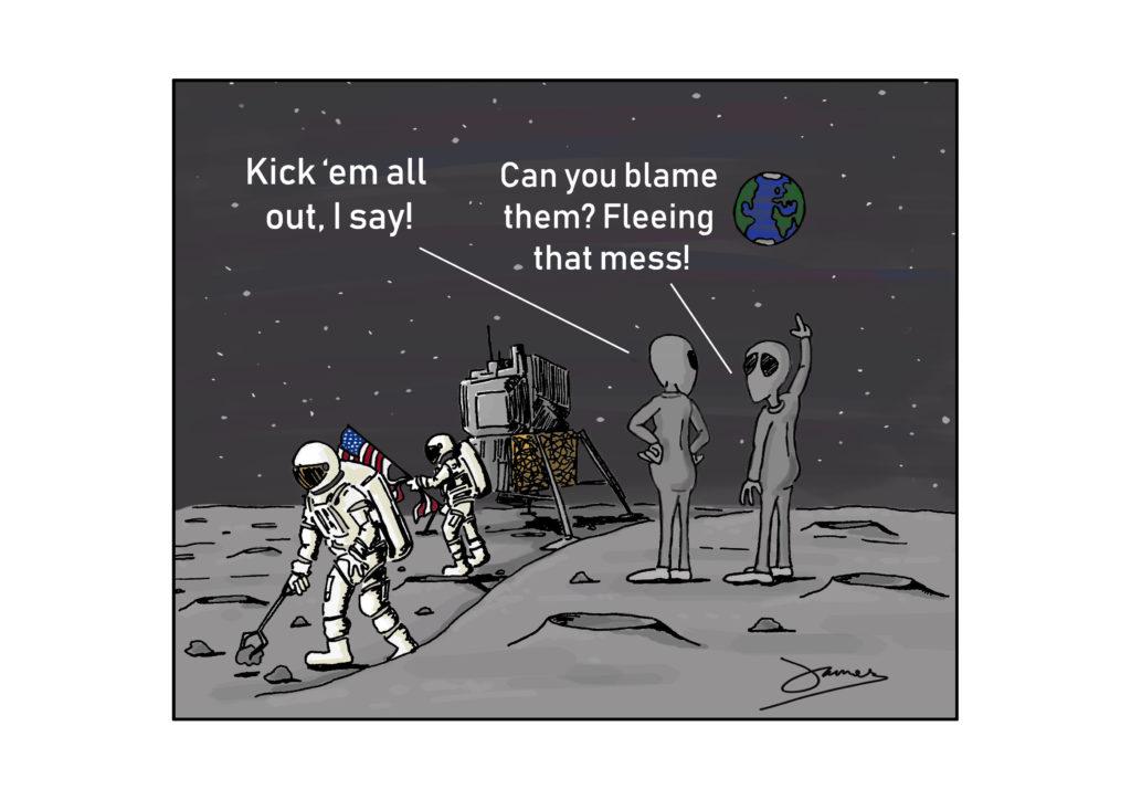 Aliens react to moon landing cartoon